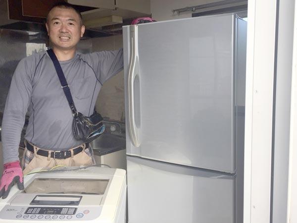 石巻便利屋フォーカスの不用品回収事例(アパート退去のお部屋から回収した全自動洗濯機と3ドア冷蔵庫)
