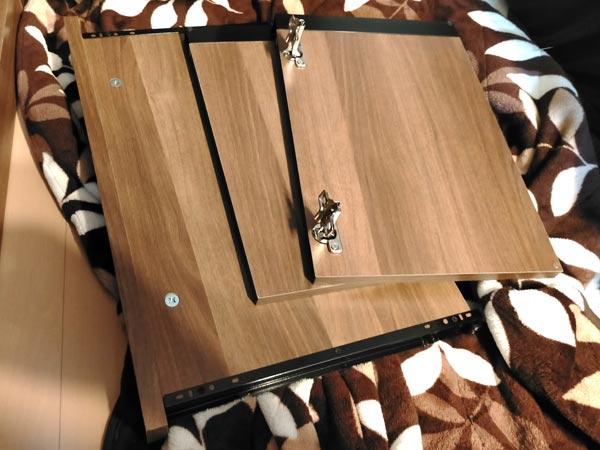 石巻便利屋フォーカスの家具組み立て代行事例(途中で断念した食器棚の扉・スライド台のパーツ部品)