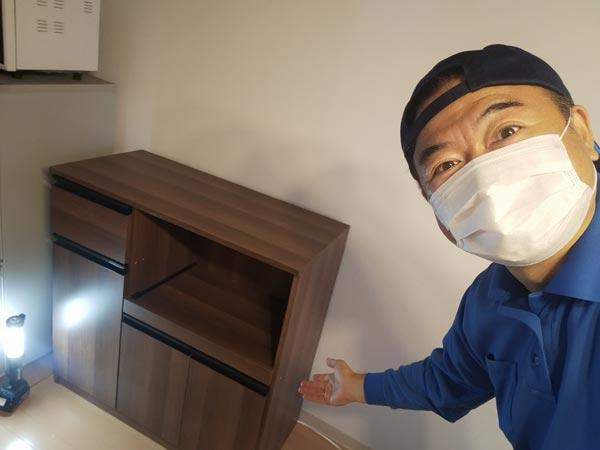 石巻便利屋フォーカスの家具組み立て代行事例(食器棚の調整、組み立て代行作業完了)