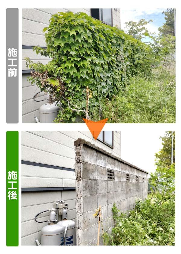 ブロック塀を覆ったツタ除去(斜め前)