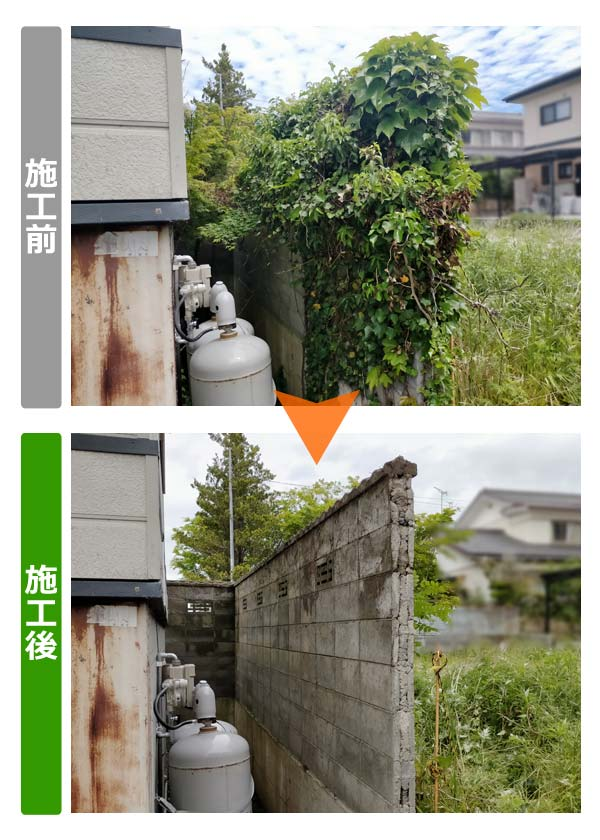 ブロック塀を覆ったツタ除去(建物側斜め前)