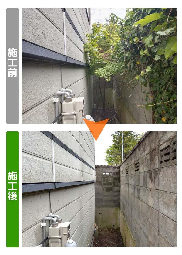 ブロック塀を覆ったツタ除去(建物側奥壁)